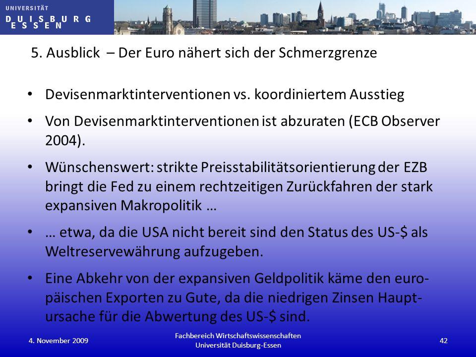 5. Ausblick – Der Euro nähert sich der Schmerzgrenze Devisenmarktinterventionen vs. koordiniertem Ausstieg Von Devisenmarktinterventionen ist abzurate