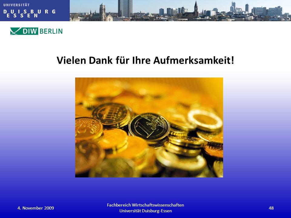 Vielen Dank für Ihre Aufmerksamkeit! 4. November 2009 Fachbereich Wirtschaftswissenschaften Universität Duisburg-Essen 48