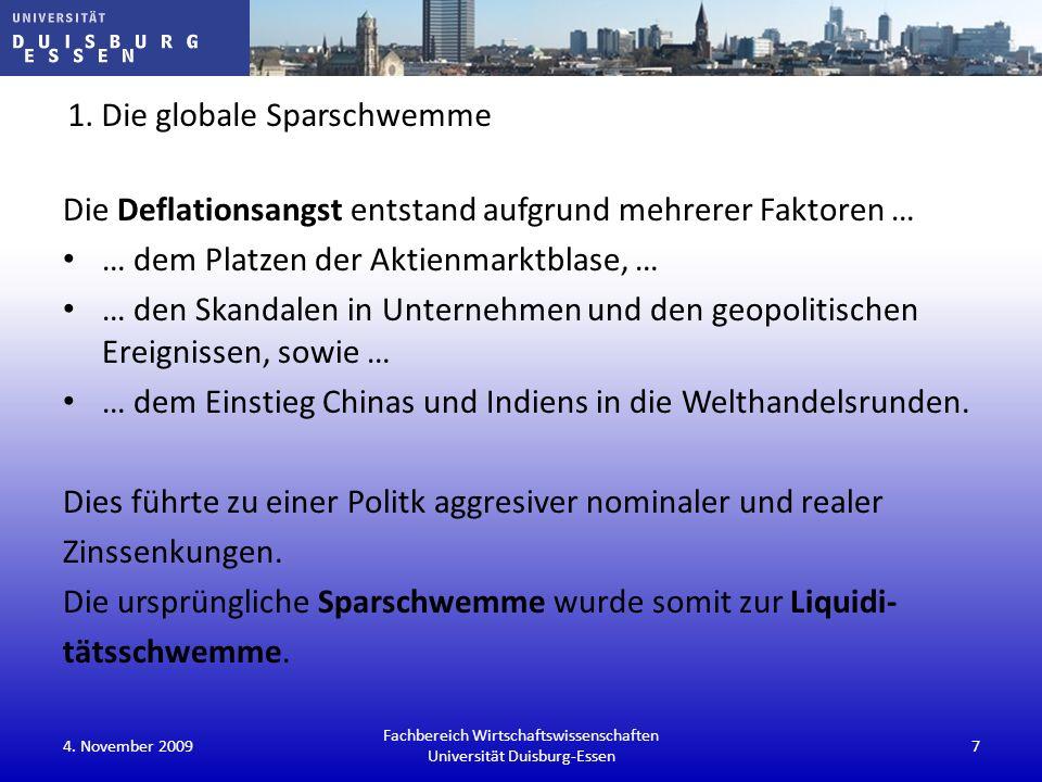 Euro kein Gegner als Reservewährung (quasi risikolose Sicherheiten Ende 2008) Fachbereich Wirtschaftswissenschaften Universität Duisburg-Essen 4.
