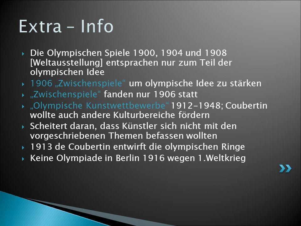Die Olympischen Spiele 1900, 1904 und 1908 [Weltausstellung] entsprachen nur zum Teil der olympischen Idee 1906 Zwischenspiele um olympische Idee zu stärken Zwischenspiele fanden nur 1906 statt Olympische Kunstwettbewerbe 1912-1948; Coubertin wollte auch andere Kulturbereiche fördern Scheitert daran, dass Künstler sich nicht mit den vorgeschriebenen Themen befassen wollten 1913 de Coubertin entwirft die olympischen Ringe Keine Olympiade in Berlin 1916 wegen 1.Weltkrieg