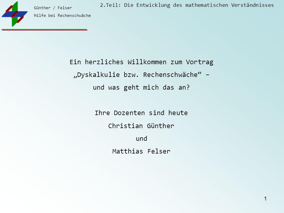 Günther / Felser Hilfe bei Rechenschwäche 2.Teil: Die Entwicklung des mathematischen Verständnisses 1 Ein herzliches Willkommen zum Vortrag Dyskalkuli