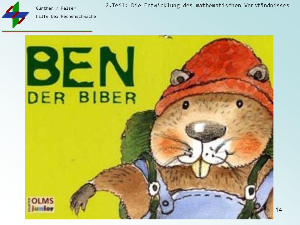 Günther / Felser Hilfe bei Rechenschwäche 2.Teil: Die Entwicklung des mathematischen Verständnisses 14 Sie haben es wieder geschafft, wir aber auch! E