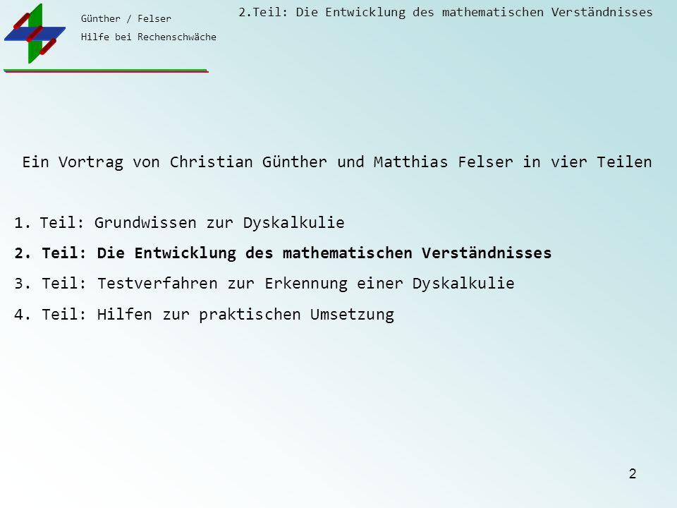 Günther / Felser Hilfe bei Rechenschwäche 2.Teil: Die Entwicklung des mathematischen Verständnisses 2 Ein Vortrag von Christian Günther und Matthias F