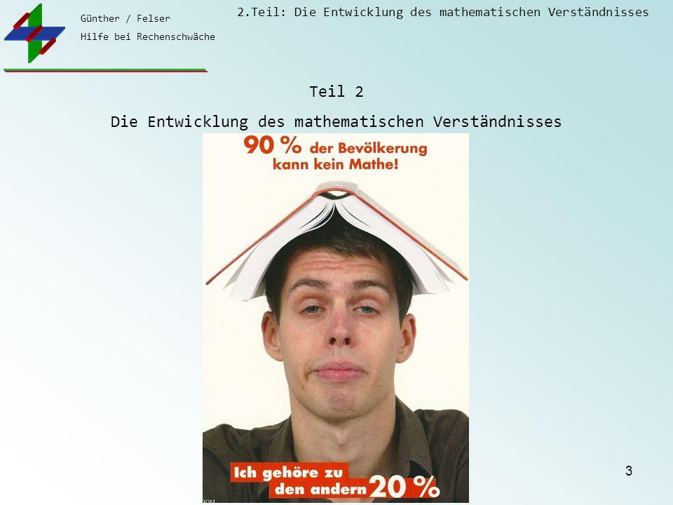 Günther / Felser Hilfe bei Rechenschwäche 2.Teil: Die Entwicklung des mathematischen Verständnisses 3 Teil 2 Die Entwicklung des mathematischen Verstä