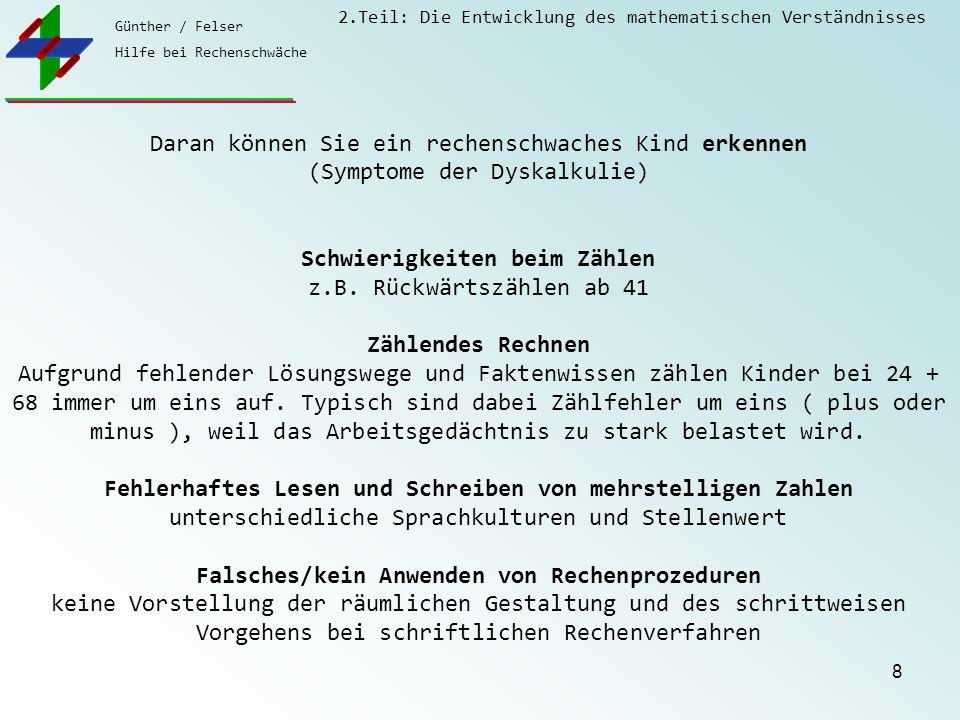 Günther / Felser Hilfe bei Rechenschwäche 2.Teil: Die Entwicklung des mathematischen Verständnisses 8 Daran können Sie ein rechenschwaches Kind erkenn