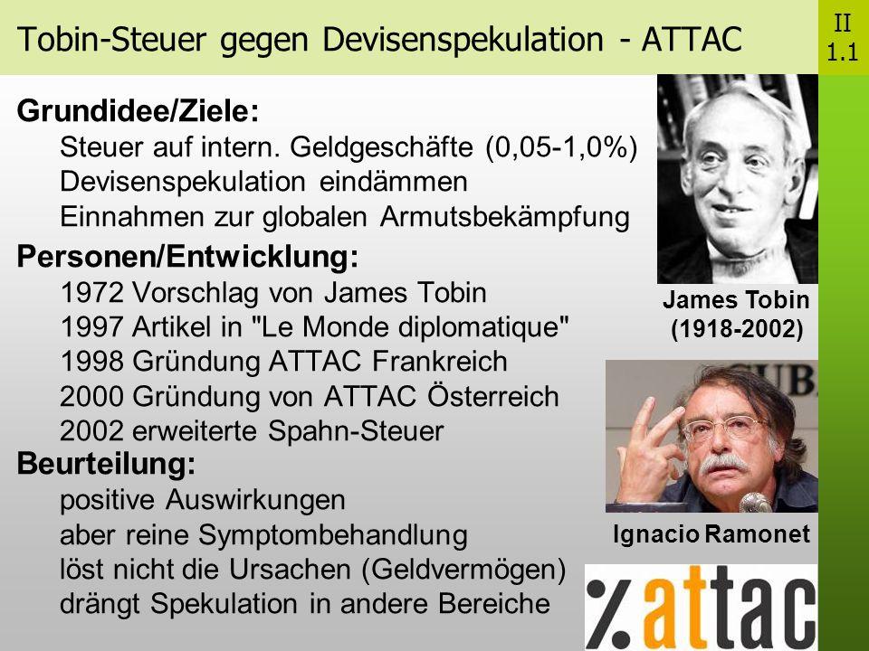 Tobin-Steuer gegen Devisenspekulation - ATTAC II 1.1 Grundidee/Ziele: Steuer auf intern.