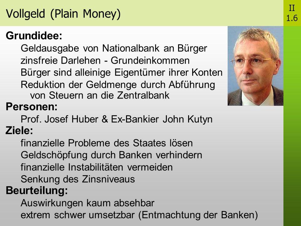 Vollgeld (Plain Money) II 1.6 Grundidee: Geldausgabe von Nationalbank an Bürger zinsfreie Darlehen - Grundeinkommen Bürger sind alleinige Eigentümer ihrer Konten Reduktion der Geldmenge durch Abführung von Steuern an die Zentralbank Personen: Prof.
