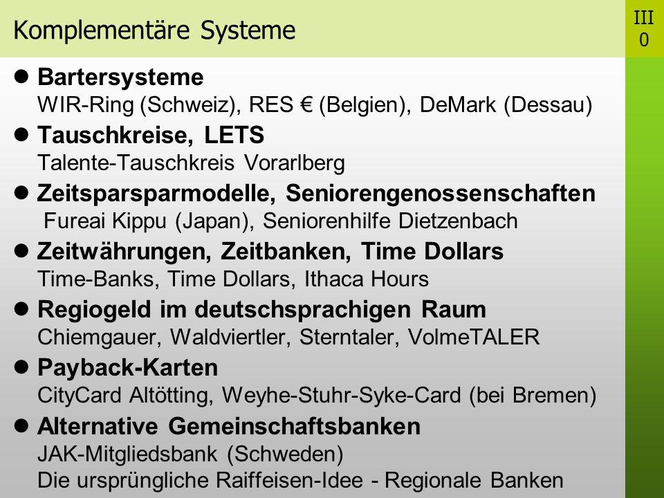 Komplementäre Systeme Bartersysteme WIR-Ring (Schweiz), RES (Belgien), DeMark (Dessau) Tauschkreise, LETS Talente-Tauschkreis Vorarlberg Zeitsparsparmodelle, Seniorengenossenschaften Fureai Kippu (Japan), Seniorenhilfe Dietzenbach Zeitwährungen, Zeitbanken, Time Dollars Time-Banks, Time Dollars, Ithaca Hours Regiogeld im deutschsprachigen Raum Chiemgauer, Waldviertler, Sterntaler, VolmeTALER Payback-Karten CityCard Altötting, Weyhe-Stuhr-Syke-Card (bei Bremen) Alternative Gemeinschaftsbanken JAK-Mitgliedsbank (Schweden) Die ursprüngliche Raiffeisen-Idee - Regionale Banken III 0