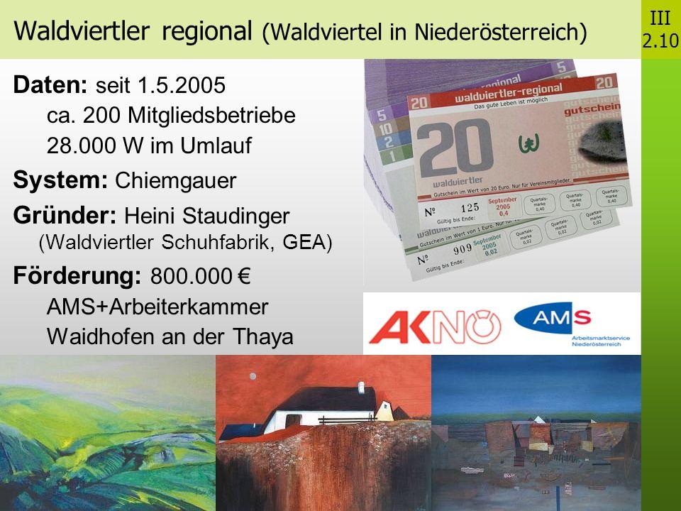 Waldviertler regional (Waldviertel in Niederösterreich) Daten: seit 1.5.2005 ca.