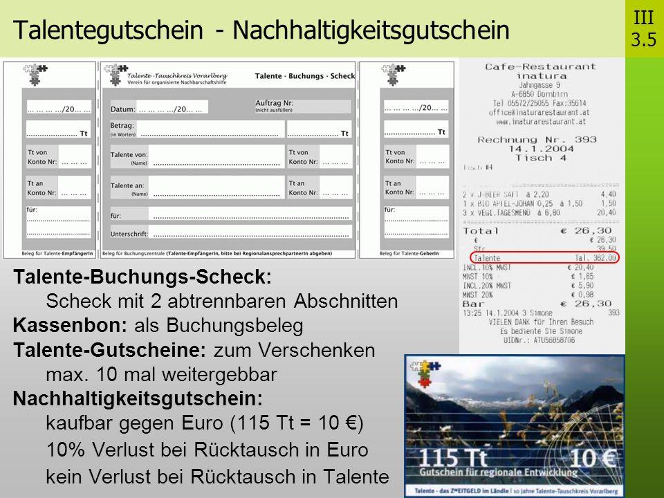 Talentegutschein - Nachhaltigkeitsgutschein Talente-Buchungs-Scheck: Scheck mit 2 abtrennbaren Abschnitten Kassenbon: als Buchungsbeleg Talente-Gutscheine: zum Verschenken max.