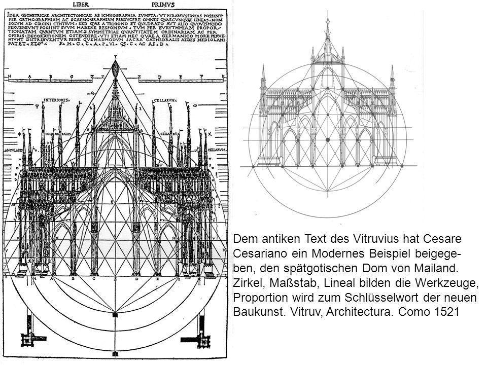Dem antiken Text des Vitruvius hat Cesare Cesariano ein Modernes Beispiel beigege- ben, den spätgotischen Dom von Mailand. Zirkel, Maßstab, Lineal bil