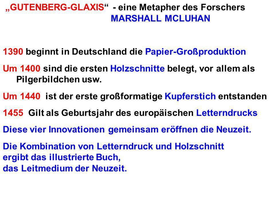 GUTENBERG-GLAXIS - eine Metapher des Forschers MARSHALL MCLUHAN 1390 beginnt in Deutschland die Papier-Großproduktion Um 1400 sind die ersten Holzschnitte belegt, vor allem als Pilgerbildchen usw.