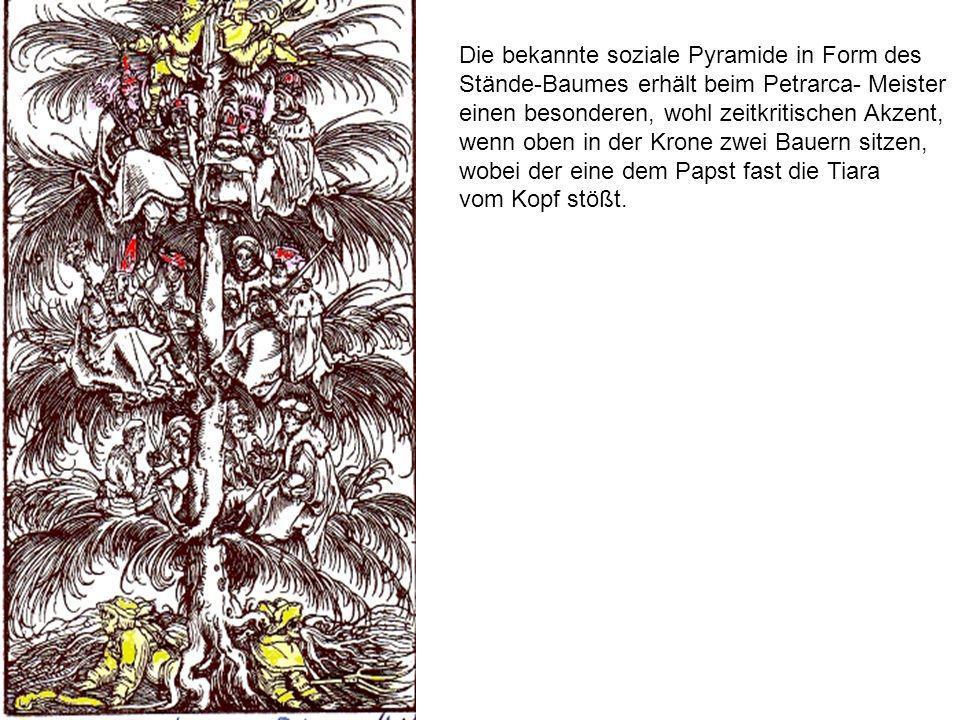 Die bekannte soziale Pyramide in Form des Stände-Baumes erhält beim Petrarca- Meister einen besonderen, wohl zeitkritischen Akzent, wenn oben in der K