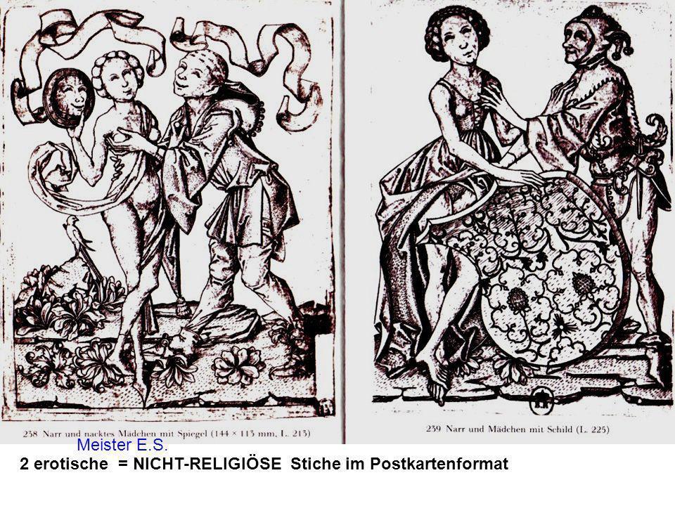 2 erotische = NICHT-RELIGIÖSE Stiche im Postkartenformat Meister E.S.