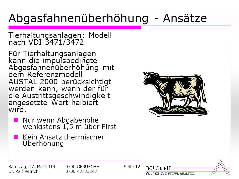Samstag, 17. Mai 2014 Dr. Ralf Petrich 0700 GERUECHE 0700 43783243 Seite 12 Abgasfahnenüberhöhung - Ansätze Tierhaltungsanlagen: Modell nach VDI 3471/