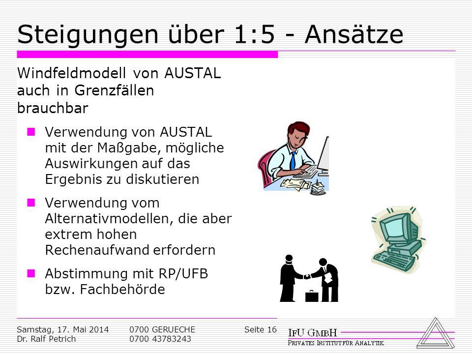 Samstag, 17. Mai 2014 Dr. Ralf Petrich 0700 GERUECHE 0700 43783243 Seite 16 Steigungen über 1:5 - Ansätze Windfeldmodell von AUSTAL auch in Grenzfälle