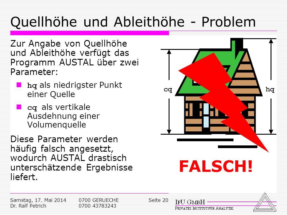 Samstag, 17. Mai 2014 Dr. Ralf Petrich 0700 GERUECHE 0700 43783243 Seite 20 Quellhöhe und Ableithöhe - Problem Zur Angabe von Quellhöhe und Ableithöhe