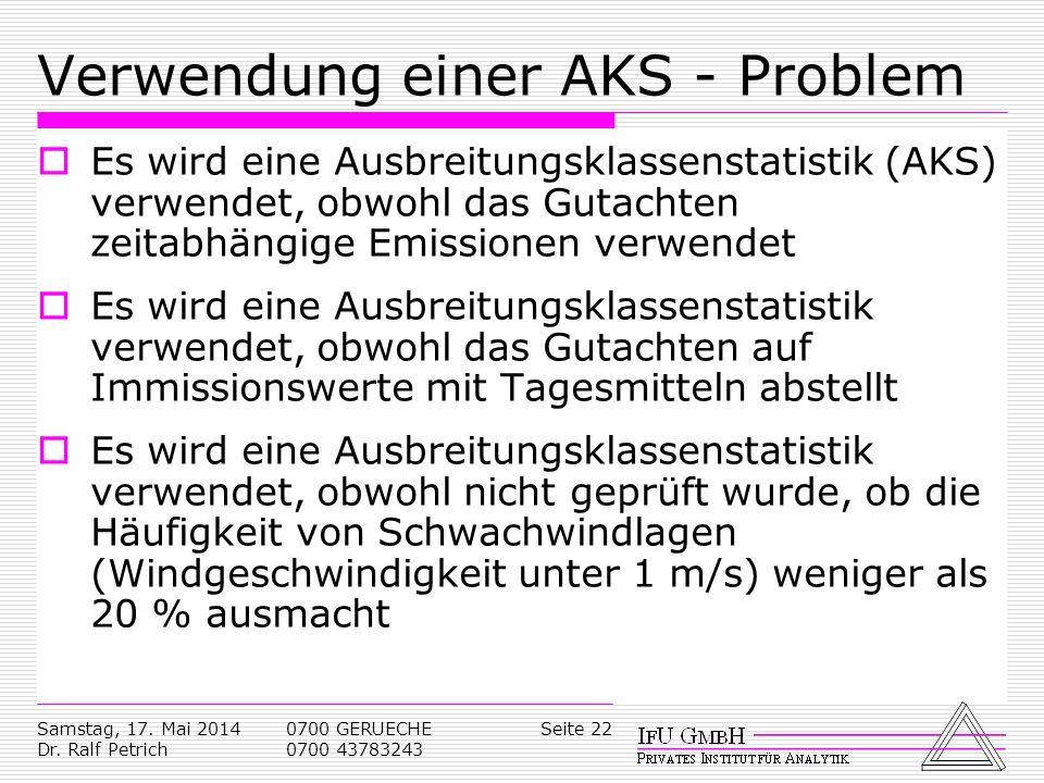 Samstag, 17. Mai 2014 Dr. Ralf Petrich 0700 GERUECHE 0700 43783243 Seite 22 Verwendung einer AKS - Problem Es wird eine Ausbreitungsklassenstatistik (