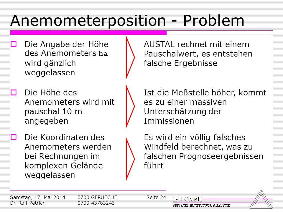 Samstag, 17. Mai 2014 Dr. Ralf Petrich 0700 GERUECHE 0700 43783243 Seite 24 Anemometerposition - Problem Die Angabe der Höhe des Anemometers ha wird g
