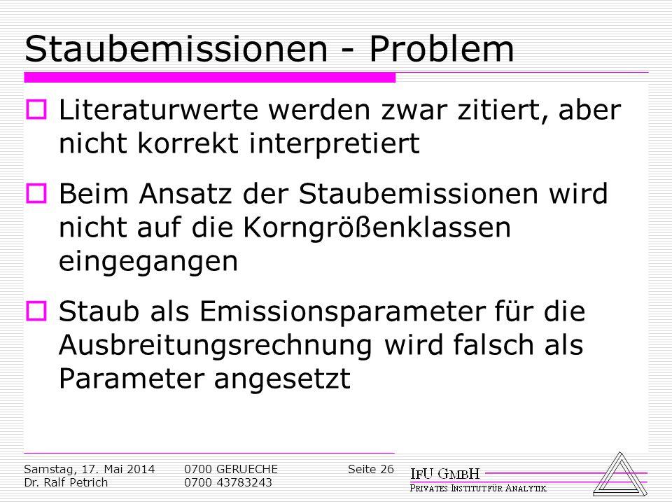Samstag, 17. Mai 2014 Dr. Ralf Petrich 0700 GERUECHE 0700 43783243 Seite 26 Staubemissionen - Problem Literaturwerte werden zwar zitiert, aber nicht k