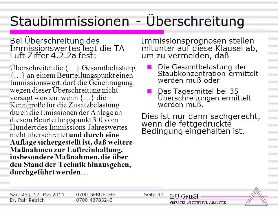 Samstag, 17. Mai 2014 Dr. Ralf Petrich 0700 GERUECHE 0700 43783243 Seite 32 Staubimmissionen - Überschreitung Bei Überschreitung des Immissionswertes