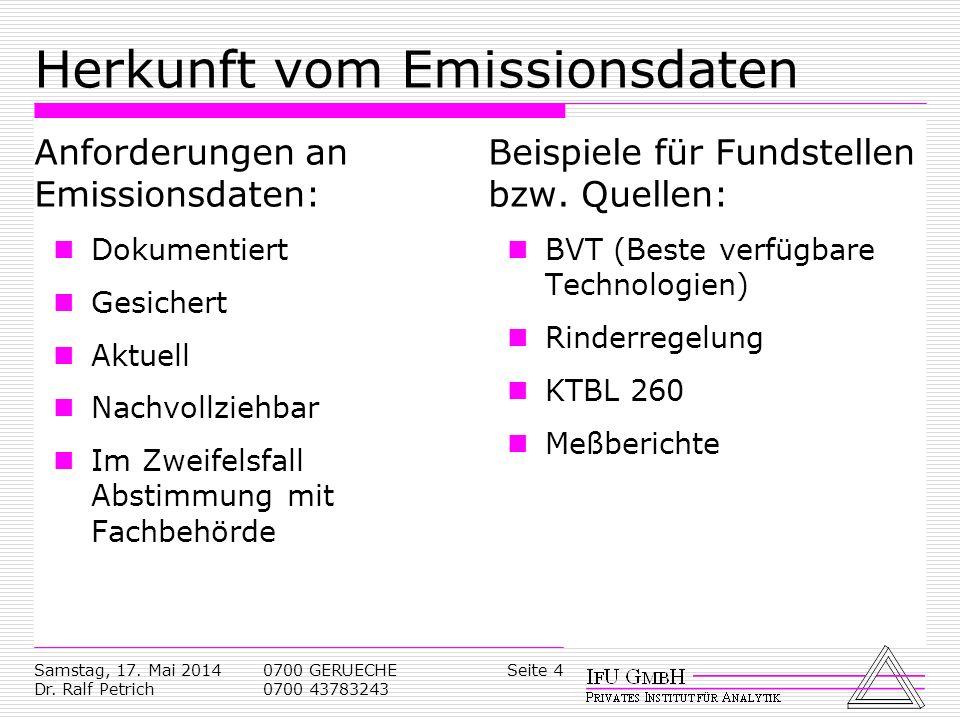 Samstag, 17. Mai 2014 Dr. Ralf Petrich 0700 GERUECHE 0700 43783243 Seite 4 Herkunft vom Emissionsdaten Anforderungen an Emissionsdaten: Dokumentiert G