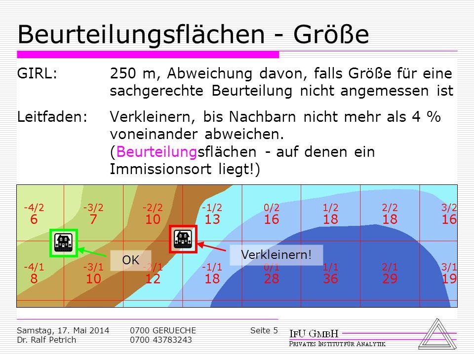 Samstag, 17. Mai 2014 Dr. Ralf Petrich 0700 GERUECHE 0700 43783243 Seite 5 Beurteilungsflächen - Größe GIRL: 250 m, Abweichung davon, falls Größe für