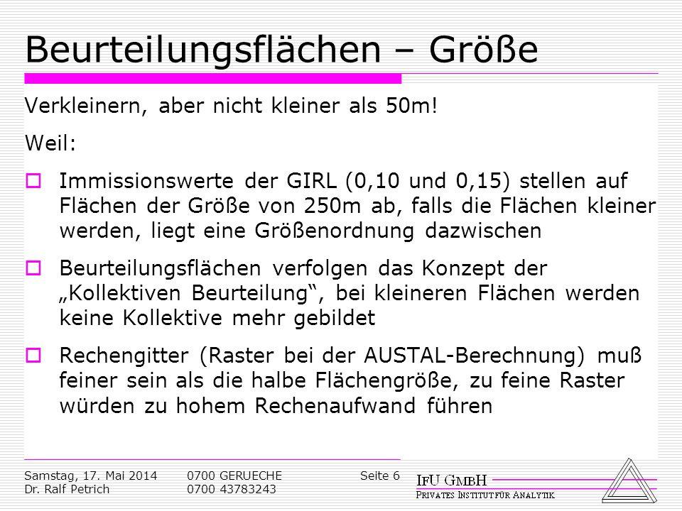 Samstag, 17. Mai 2014 Dr. Ralf Petrich 0700 GERUECHE 0700 43783243 Seite 6 Beurteilungsflächen – Größe Verkleinern, aber nicht kleiner als 50m! Weil: