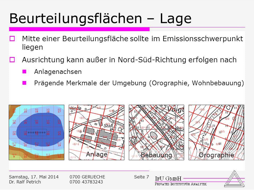 Samstag, 17. Mai 2014 Dr. Ralf Petrich 0700 GERUECHE 0700 43783243 Seite 7 Beurteilungsflächen – Lage Mitte einer Beurteilungsfläche sollte im Emissio