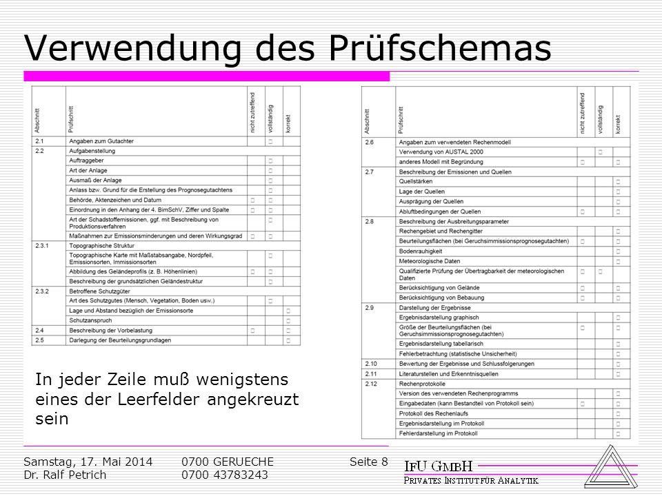 Samstag, 17. Mai 2014 Dr. Ralf Petrich 0700 GERUECHE 0700 43783243 Seite 8 Verwendung des Prüfschemas In jeder Zeile muß wenigstens eines der Leerfeld