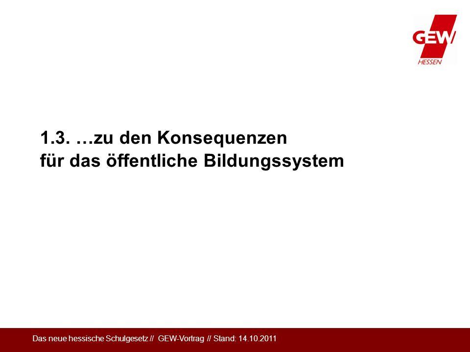 Das neue hessische Schulgesetz // GEW-Vortrag // Stand: 14.10.2011 1.3. …zu den Konsequenzen für das öffentliche Bildungssystem