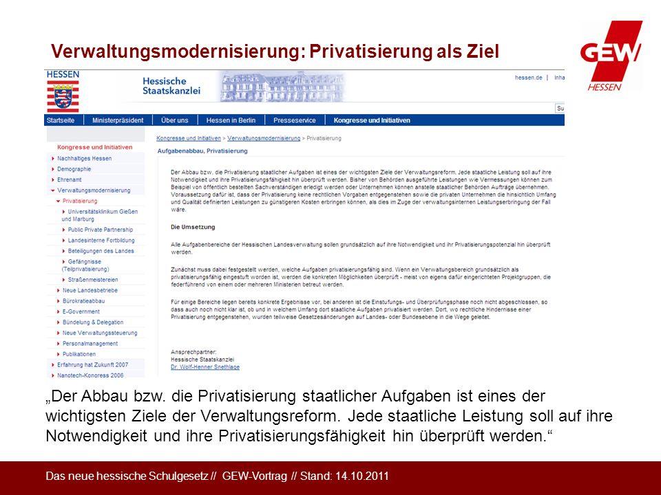Das neue hessische Schulgesetz // GEW-Vortrag // Stand: 14.10.2011 Verwaltungsmodernisierung: Privatisierung als Ziel Der Abbau bzw. die Privatisierun