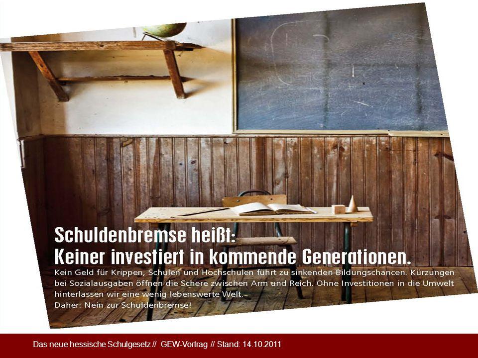 Das neue hessische Schulgesetz // GEW-Vortrag // Stand: 14.10.2011 Haushaltskürzungen in Hessen Kürzungen Kultusressort 2011: 45 Millionen Euro Kürzun