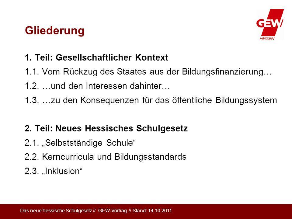 Das neue hessische Schulgesetz // GEW-Vortrag // Stand: 14.10.2011 Gliederung 1. Teil: Gesellschaftlicher Kontext 1.1. Vom Rückzug des Staates aus der