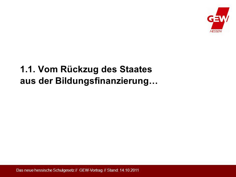 Das neue hessische Schulgesetz // GEW-Vortrag // Stand: 14.10.2011 Verwaltungsmodernisierung: Privatisierung als Ziel Der Abbau bzw.