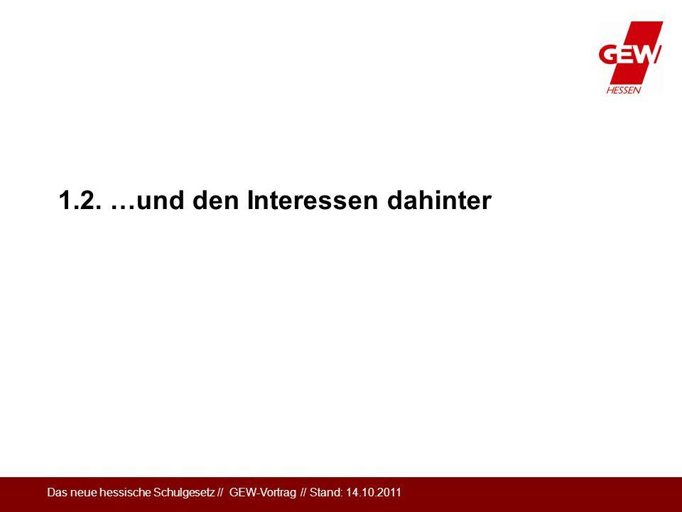 Das neue hessische Schulgesetz // GEW-Vortrag // Stand: 14.10.2011 1.2. …und den Interessen dahinter