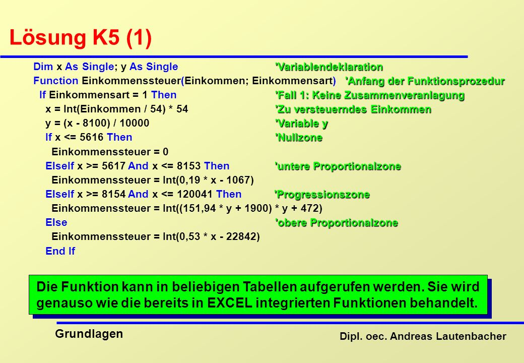 Dipl. oec. Andreas Lautenbacher Grundlagen Lösung K5 (1) 'Variablendeklaration Dim x As Single; y As Single 'Variablendeklaration 'Anfang der Funktion