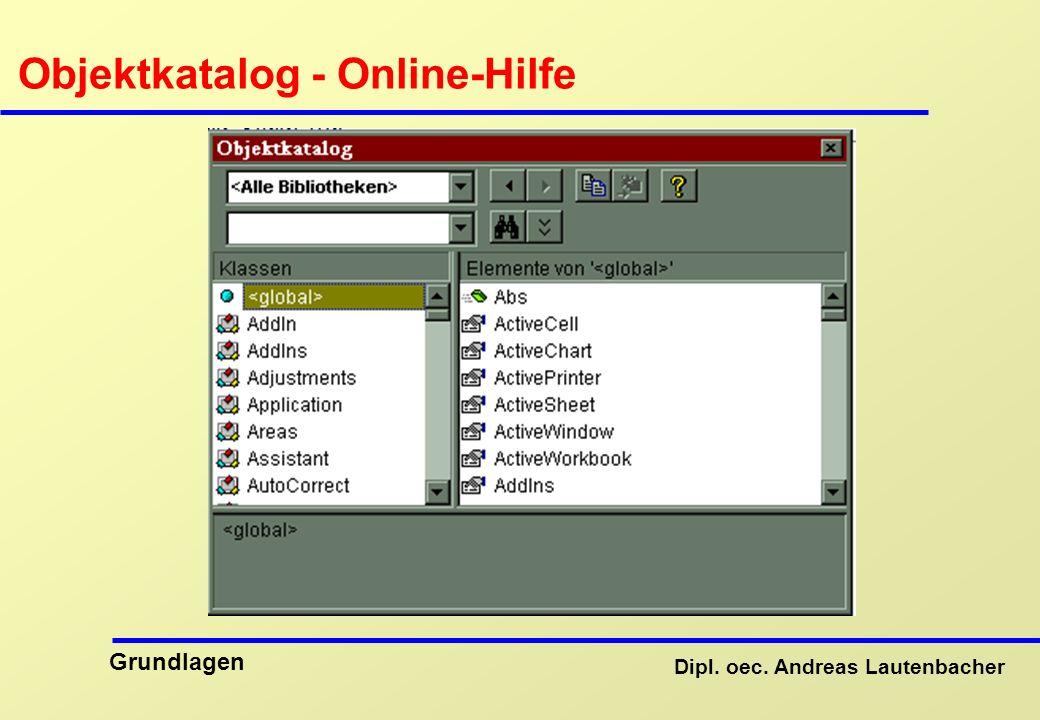 Dipl. oec. Andreas Lautenbacher Grundlagen Objektkatalog - Online-Hilfe
