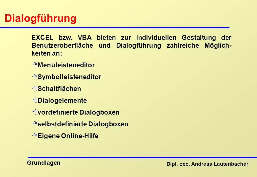 Dipl.oec. Andreas Lautenbacher Grundlagen Dialogführung EXCEL bzw.