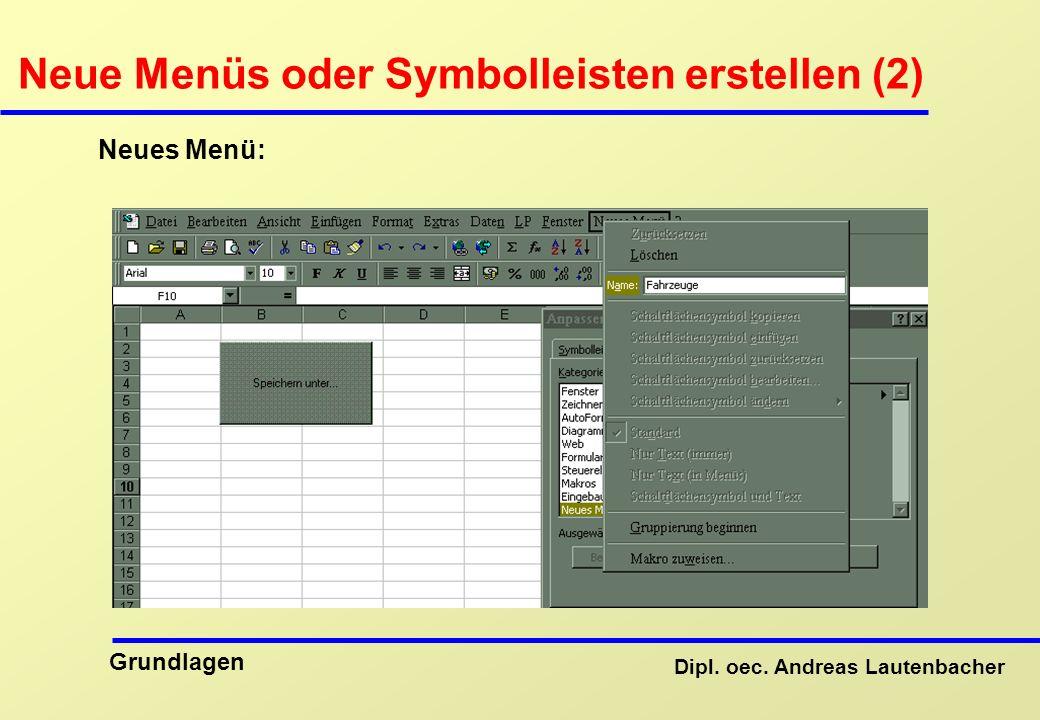 Dipl. oec. Andreas Lautenbacher Grundlagen Neue Menüs oder Symbolleisten erstellen (2) Neues Menü: