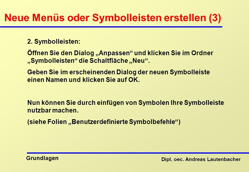 Dipl.oec. Andreas Lautenbacher Grundlagen Neue Menüs oder Symbolleisten erstellen (3) 2.