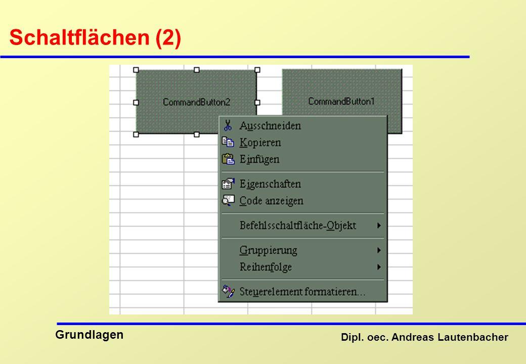Dipl. oec. Andreas Lautenbacher Grundlagen Schaltflächen (2)
