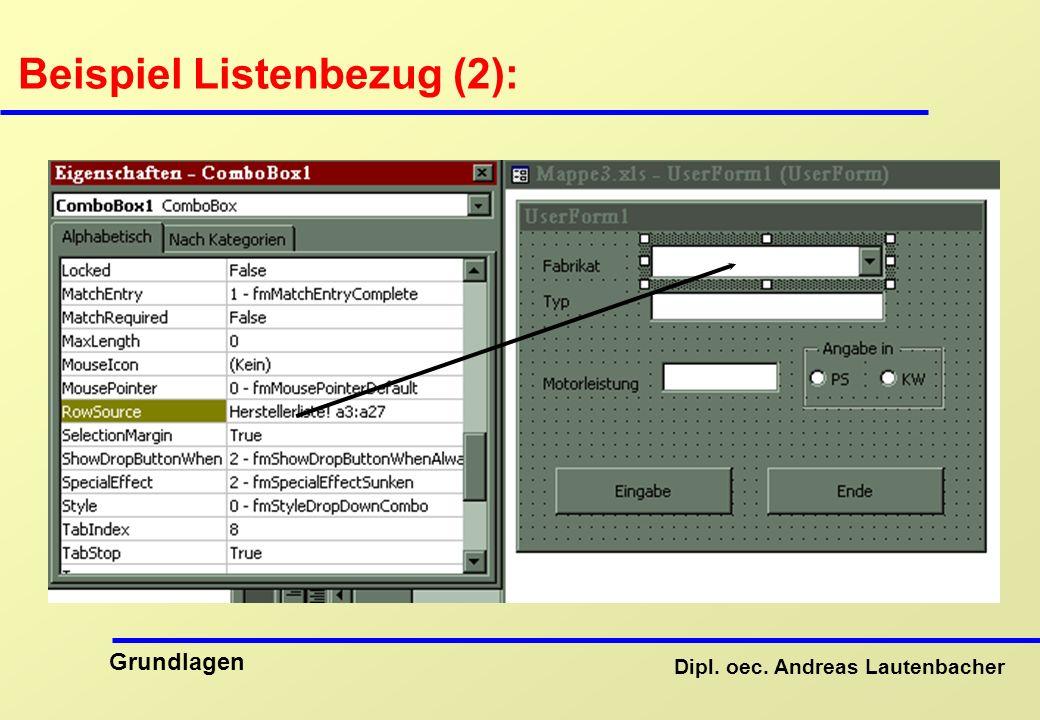 Dipl. oec. Andreas Lautenbacher Grundlagen Beispiel Listenbezug (2):