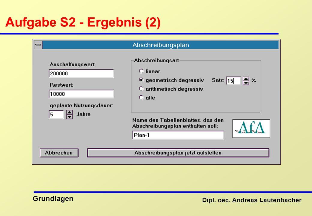 Dipl. oec. Andreas Lautenbacher Grundlagen Aufgabe S2 - Ergebnis (2)