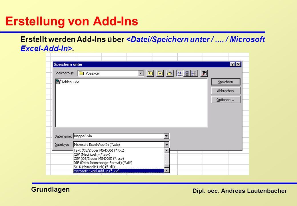 Dipl. oec. Andreas Lautenbacher Grundlagen Erstellung von Add-Ins Erstellt werden Add-Ins über.