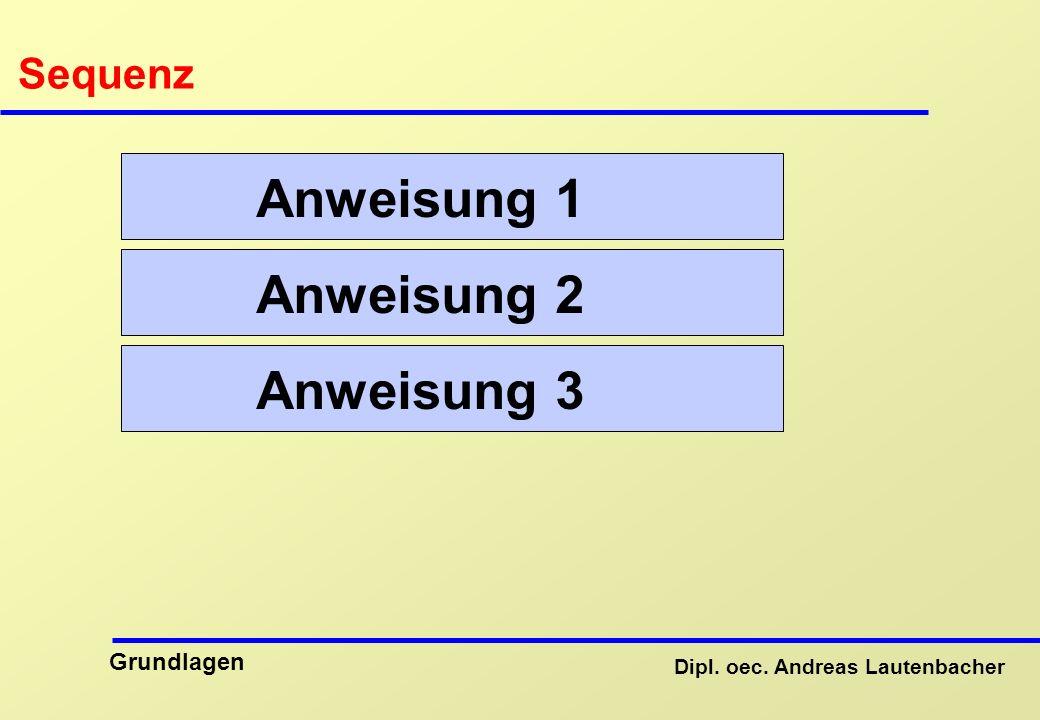 Dipl. oec. Andreas Lautenbacher Grundlagen Sequenz Anweisung 1 Anweisung 2 Anweisung 3
