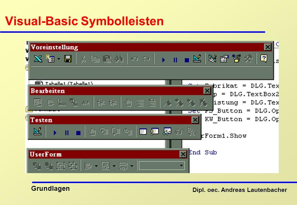 Dipl. oec. Andreas Lautenbacher Grundlagen Visual-Basic Symbolleisten