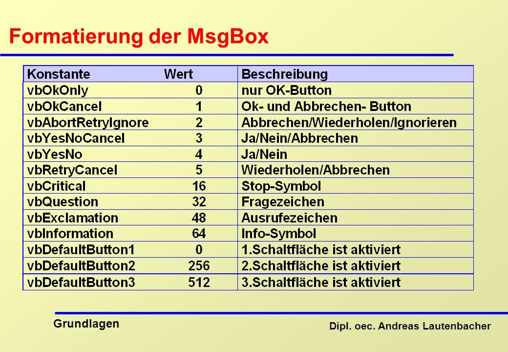 Dipl. oec. Andreas Lautenbacher Grundlagen Formatierung der MsgBox