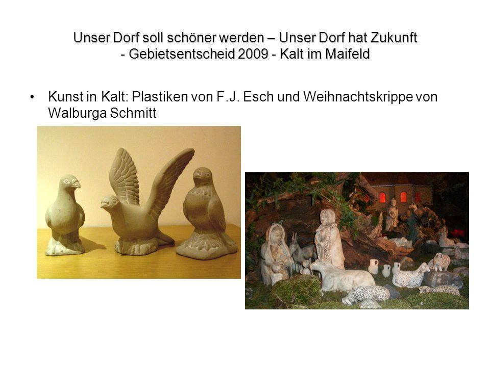 Unser Dorf soll schöner werden – Unser Dorf hat Zukunft - Gebietsentscheid 2009 - Kalt im Maifeld Kunst in Kalt: Plastiken von F.J. Esch und Weihnacht