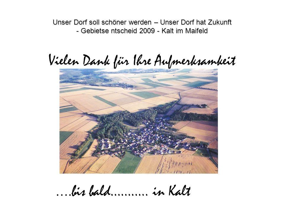 Unser Dorf soll schöner werden – Unser Dorf hat Zukunft - Gebietse ntscheid 2009 - Kalt im Maifeld Vielen Dank für Ihre Aufmerksamkeit …. bis bald……….